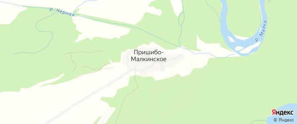 Карта Пришибо-Малкинского села в Кабардино-Балкарии с улицами и номерами домов