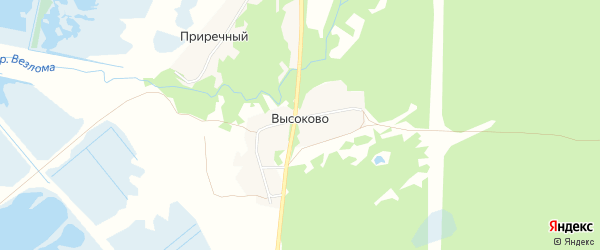 Карта деревни Высоково (Линдовский с/с) города Бора в Нижегородской области с улицами и номерами домов