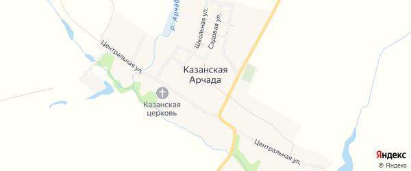 Карта села Казанской Арчада в Пензенской области с улицами и номерами домов