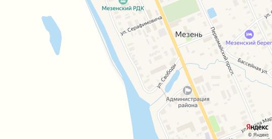 Улица Набережная им В.И.Ленина в Мезени с номерами домов на карте. Спутник и схема онлайн