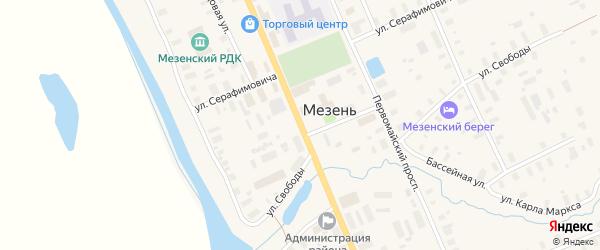 Советский проспект на карте Мезени с номерами домов