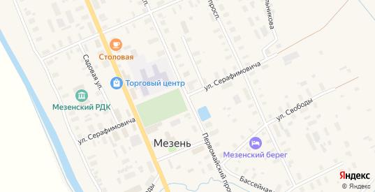 Улица Серафимовича в Мезени с номерами домов на карте. Спутник и схема онлайн