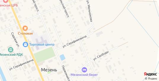 Октябрьский проспект в Мезени с номерами домов на карте. Спутник и схема онлайн