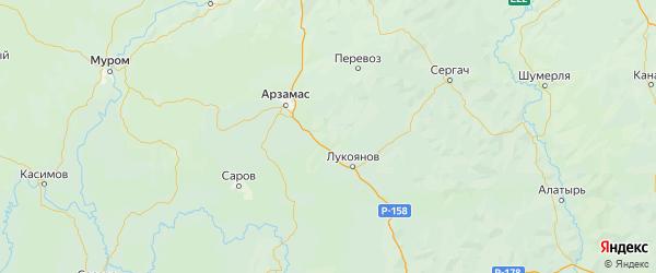 Карта Шатковского района Нижегородской области с городами и населенными пунктами