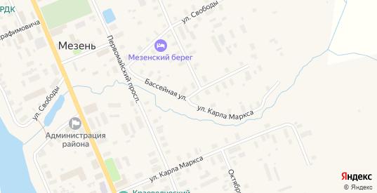 Бассейная улица в Мезени с номерами домов на карте. Спутник и схема онлайн