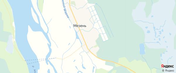 Карта Мезени с районами, улицами и номерами домов: Мезень на карте России