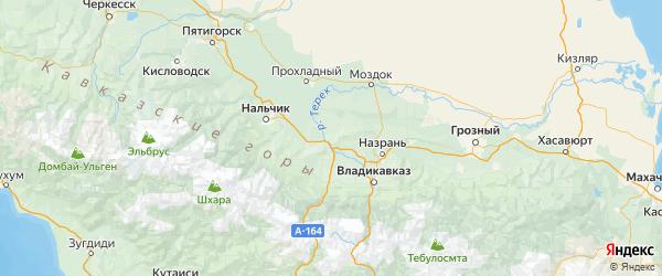 Карта Кировского района Республики Северной Осетии с городами и населенными пунктами