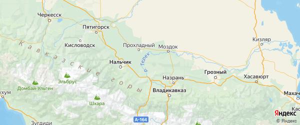 Карта Терского района Республики Кабардино-Балкарии с городами и населенными пунктами