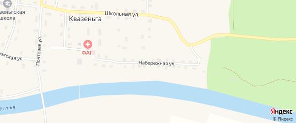 Набережная улица на карте поселка Квазеньги Архангельской области с номерами домов