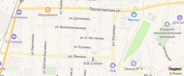 Улица А.Хестанова на карте Ардона с номерами домов