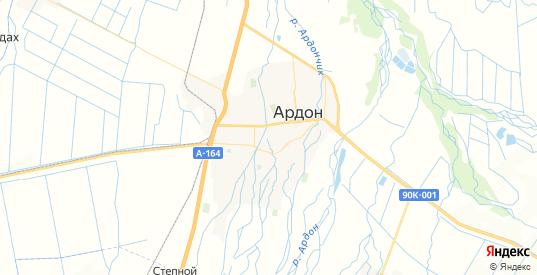 Карта Ардона с улицами и домами подробная. Показать со спутника номера домов онлайн