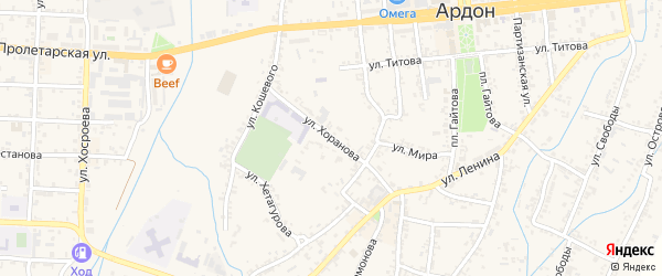 Улица Хоранова на карте Ардона с номерами домов