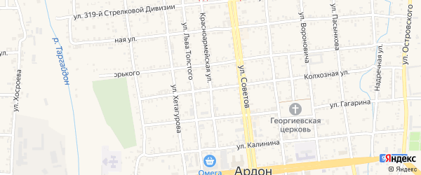 Красноармейская улица на карте Ардона с номерами домов