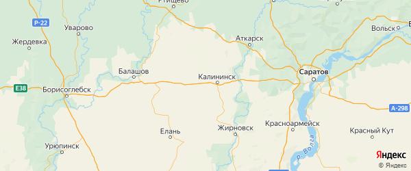 Карта Калининского района Саратовской области с городами и населенными пунктами