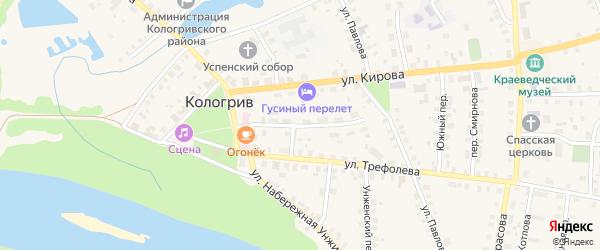 Улица Честнякова на карте Кологрива с номерами домов