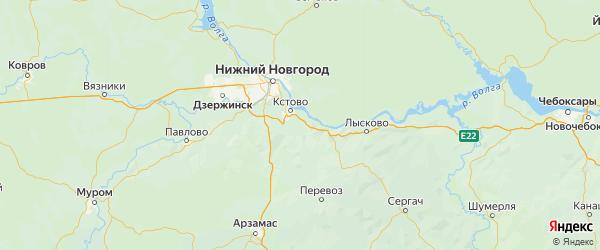 Карта Кстовский района Нижегородской области с городами и населенными пунктами
