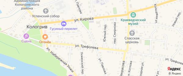 Улица Павлова на карте Кологрива с номерами домов
