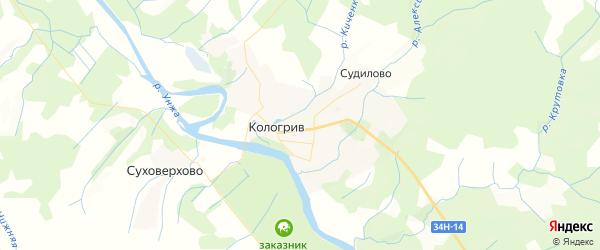 Карта Кологрива с районами, улицами и номерами домов: Кологрив на карте России