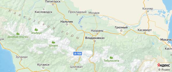 Карта Ардонского района Республики Северной Осетии с городами и населенными пунктами