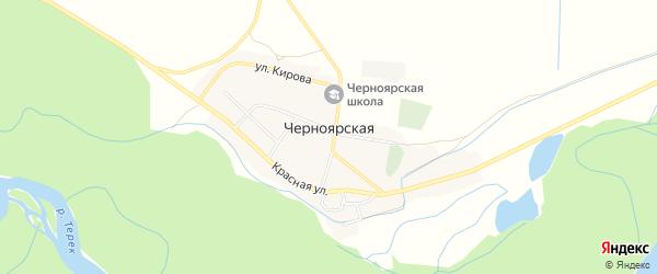 Карта поселка Черноярской в Северной Осетии с улицами и номерами домов
