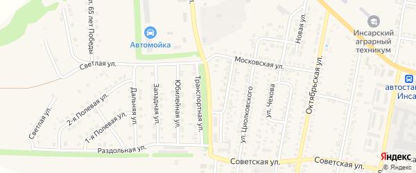 Строительный переулок на карте Инсара с номерами домов