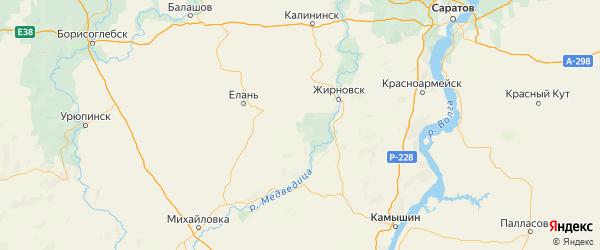 Карта Руднянского района Волгоградской области с городами и населенными пунктами