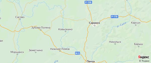 Карта Кадошкинского района Республики Мордовии с городами и населенными пунктами
