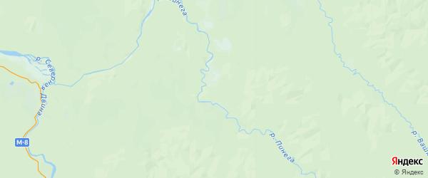 Карта Пинежского района Архангельской области с населенными пунктами и городами