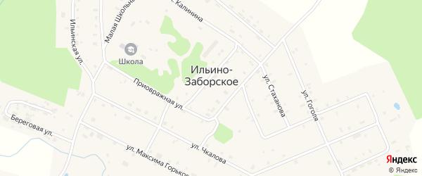 Приовражная улица на карте Ильина-Заборского села с номерами домов