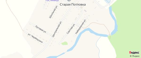 Светлая улица на карте села Старой Потловки Пензенской области с номерами домов