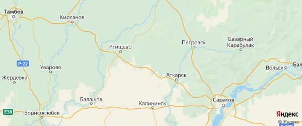 Карта Екатериновского района Саратовской области с городами и населенными пунктами