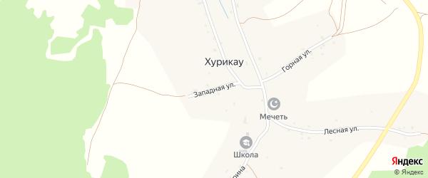 Западная улица на карте села Хурикау Северной Осетии с номерами домов
