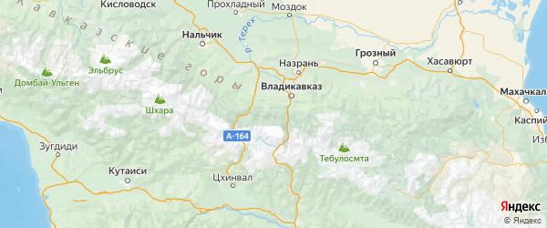 Карта Пригородного района Республики Северной Осетии с городами и населенными пунктами