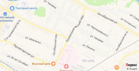 Поликлинический переулок в Калининске с номерами домов на карте. Спутник и схема онлайн