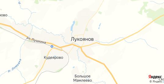 Карта Лукоянова с улицами и домами подробная. Показать со спутника номера домов онлайн