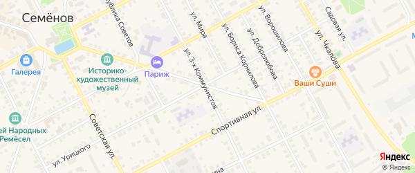 Улица Февральской Революции на карте Семенова с номерами домов