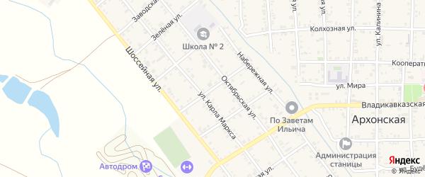 Улица Декабристов на карте Архонской станицы Северной Осетии с номерами домов