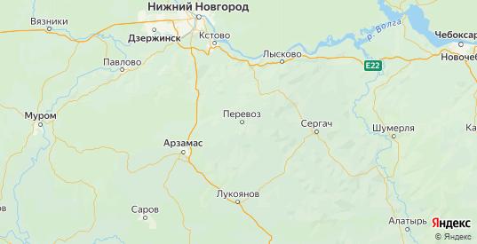 Карта Перевозского района Нижегородской области с городами и населенными пунктами