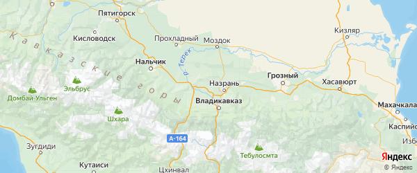 Карта Правобережного района Республики Северной Осетии с городами и населенными пунктами