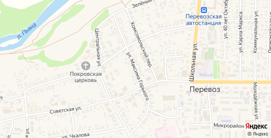 Улица Максима Горького в Перевозе с номерами домов на карте. Спутник и схема онлайн