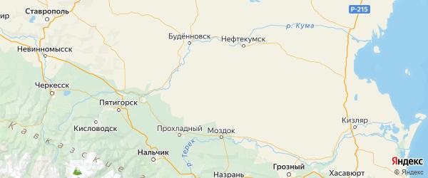 Карта Степновского района Ставропольского края с городами и населенными пунктами