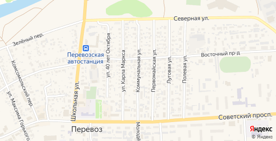 Коммунальная улица в Перевозе с номерами домов на карте. Спутник и схема онлайн