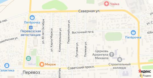 Луговая улица в Перевозе с номерами домов на карте. Спутник и схема онлайн