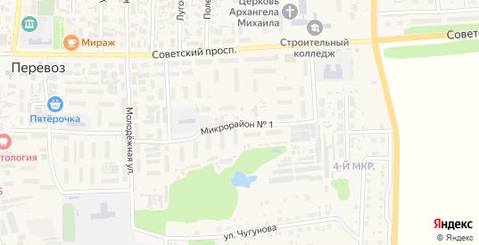 1-й микрорайон в Перевозе с номерами домов на карте. Спутник и схема онлайн