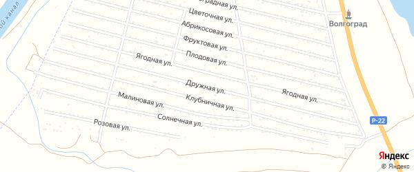 Дружная улица на карте Волгограда с номерами домов