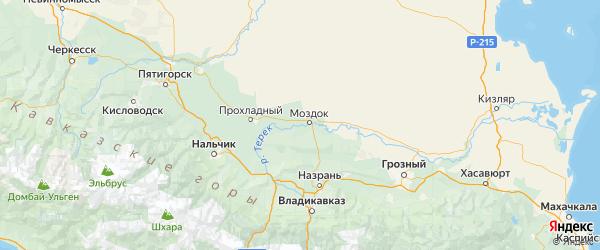 Карта Моздокского района Республики Северной Осетии с городами и населенными пунктами
