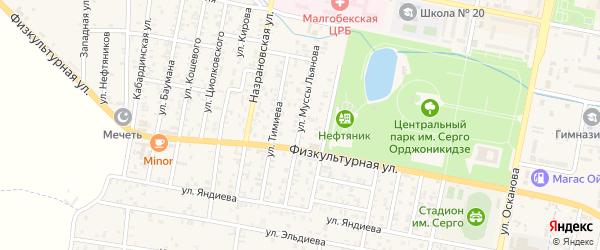 Улица Муссы Льянова на карте Малгобека с номерами домов