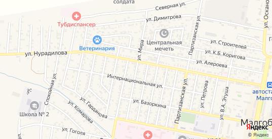 Улица Мира в местечке Чкалово в Малгобеке с номерами домов на карте. Спутник и схема онлайн