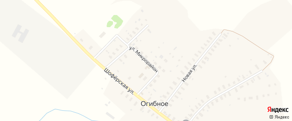 Улица Микрорайон на карте деревни Огибного с номерами домов