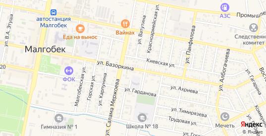 Улица Базоркина в Малгобеке с номерами домов на карте. Спутник и схема онлайн